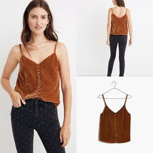 NEW Madewell Velvet Button Down Cami Tank sz 0